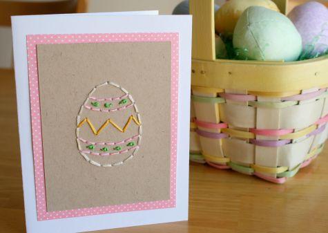Вышитое яйцо - открытка на Пасху