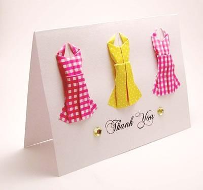 Открытка  - платья оригами