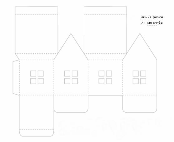 схема домика из бумаги, зимняя поделка